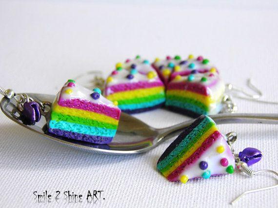 Rainbow cake earringsRainbow cake charmsKawaii by Smile2ShineArt