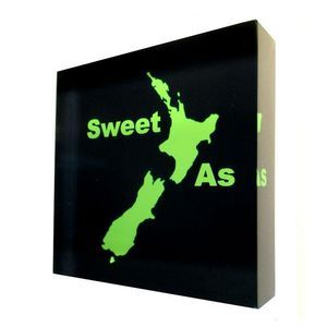 Sweet As - NZ Art printed directly onto the back of a 90mm x 90mm x 20mm acrylic art photo block, from Chelsea DesignNZ.