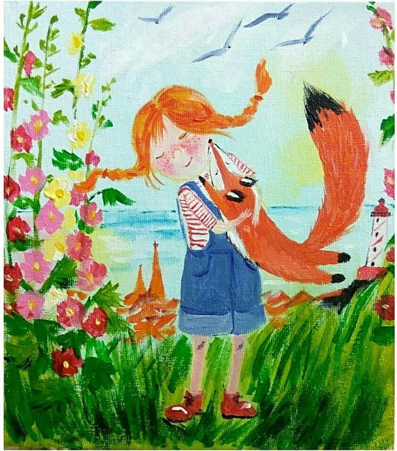Ginger girl and Fox original acrylic painting funny wall
