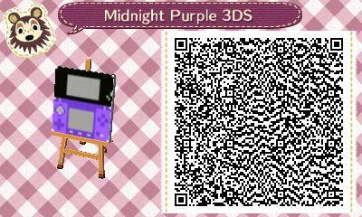 ANIMAL CROSSING NEW LEAF. QR CODE. ACNL. midnight purple 3DS.