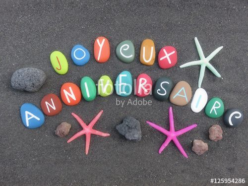 """Download the royalty-free photo """"Joyeux Anniversaire on volcanic black sand"""" created by Ciaobucarest at the lowest price on Fotolia.com. Browse our cheap image bank online to find the perfect stock photo for your marketing projects!"""