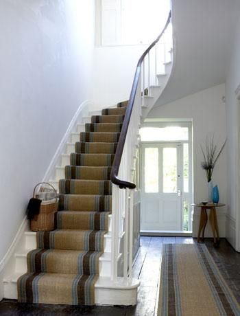 Choose hardwearing carpet  One of the best types of carpet for a hallway is hardwearing sisal. Stripy styles in vibrant shades will help disguise marks and stains too.