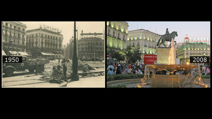 La reformas de la Puerta del Sol en 1950, captadas por el fotógrafo de ABC Manuel Sanz Bermejo, en la que puede verse, al fondo, el antiguo cartel de Gonzalez Byass, que luego sería sustituido por el famoso de Tío Pepe, como puede verse en la fotografía de 2008.