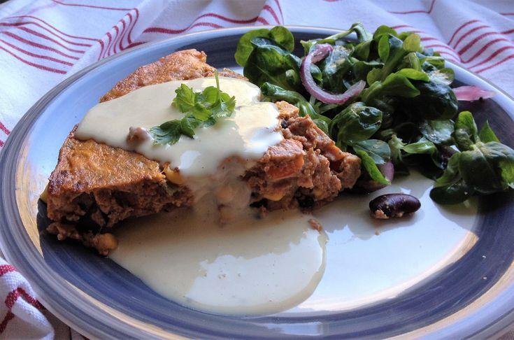 quiche sans pâte façon chili corn carne,sauce au fromage(TM31)