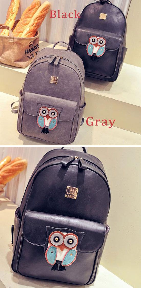 Cute Owl Cartoon PU Schoolbag Rucksack Simple Solid Animal Backpack for big sale! #cartoon #Pu #animal #cute #backpack #Bag #school #student #owl