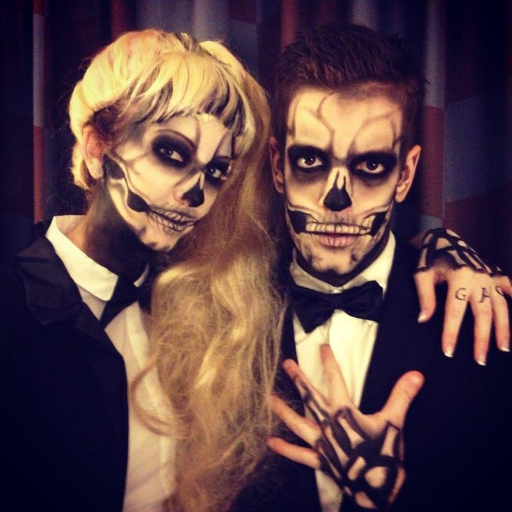 Simple Way Couple Skull Makeup Without Doing