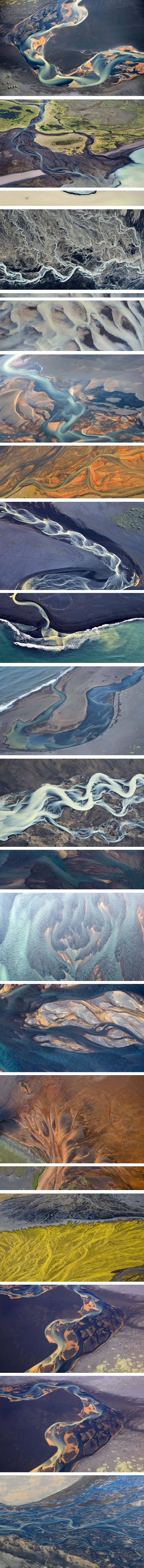 Aerial View of the Icelandic Rivers - At a first glance these photos almost look like satellite imagery of a distant planet. These photos were actually taken from a light aircraft traveling at 800m (2625 ft) above the ground by Andrei Yermolayev