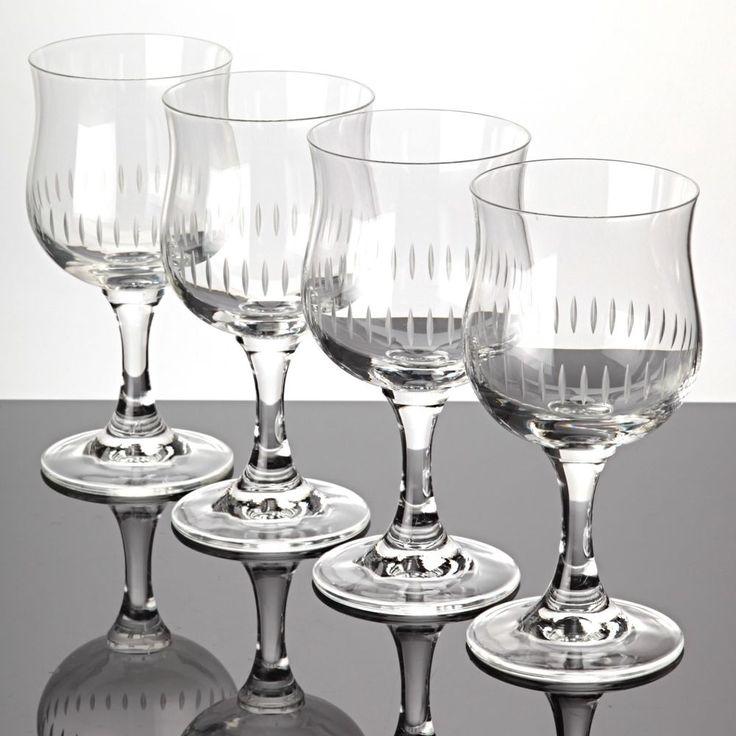 4 Weingläser Weißweingläser Linien Schliff Gravur Tulpen Kelch Kristall Gläser