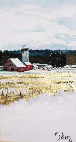 Golden Farm field + red barns, painting by artist Gretchen Kelly