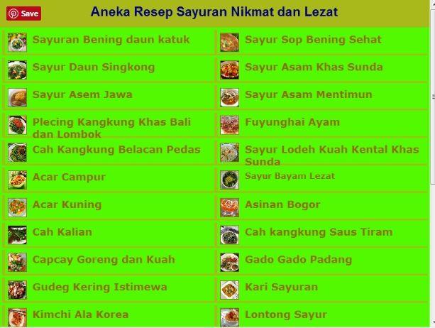 Aplikasi Android Aneka Resep Sayuran