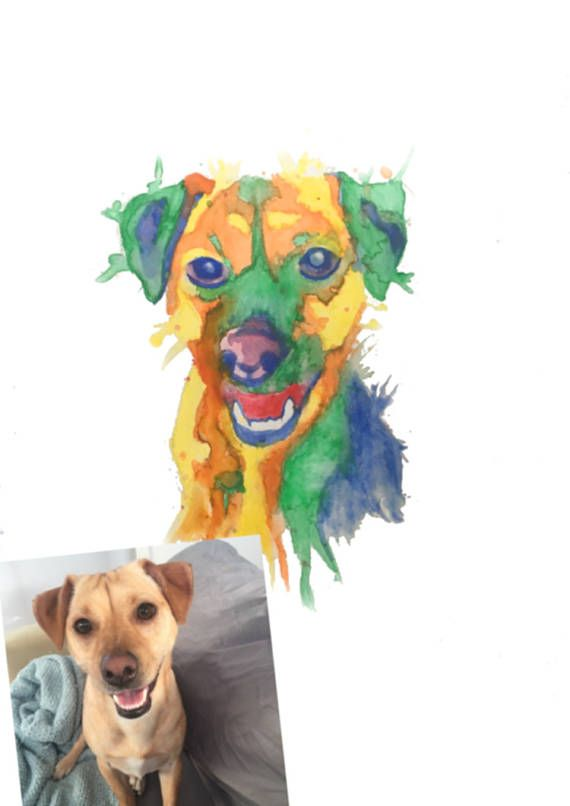 Personalised pet watercolour painting from your photo hand