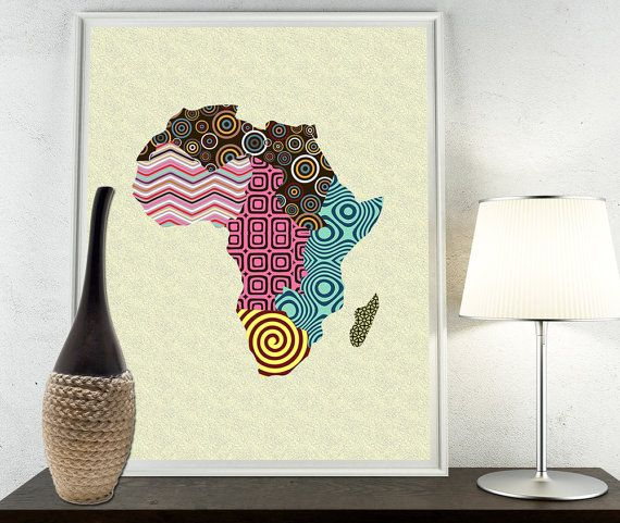 African Print Map Decor, African Wall Art, African Map Art, African Shop  Print, Afrocentric Pop Art