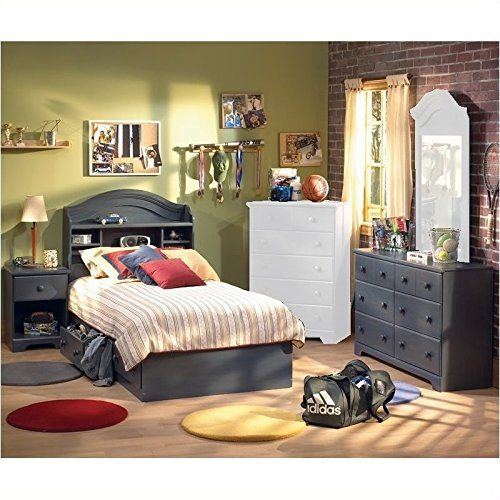4-Set Toddler Bedroom Furniture Set for Antique Blue Touch in Twin Wood Captains Bed, South Shore