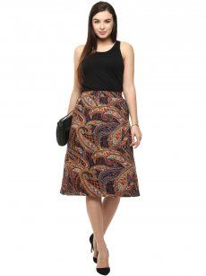 Color Cocktail Brown Printed Skirt
