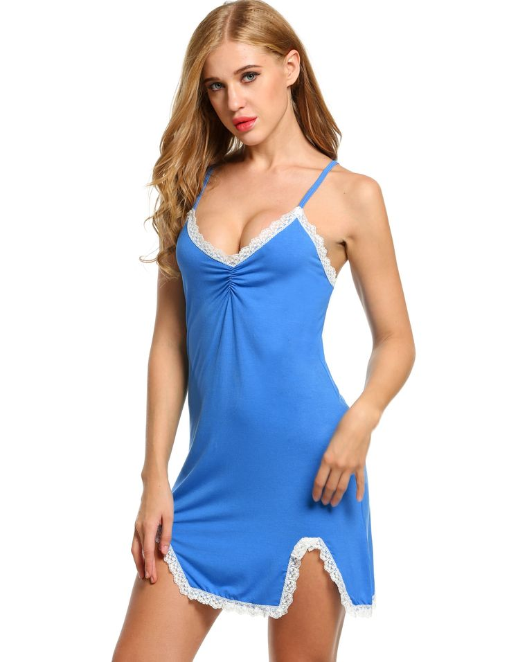 Womens Sleeveless Solid V Neck Nightgown..  #StyleChicSassy