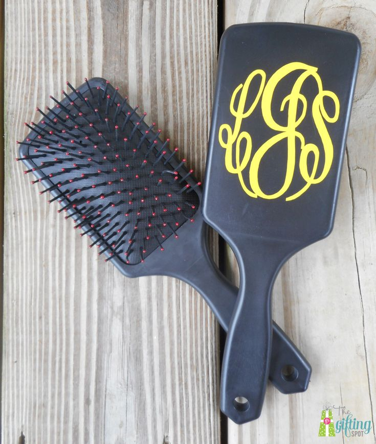 Monogrammed Hairbrush, Personalized Hairbrush, Large Paddle Cushion Hair Brush, Monogrammed Brush, Vinyl Monogram by TheGiftingSpot on Etsy https://www.etsy.com/listing/248557664/monogrammed-hairbrush-personalized