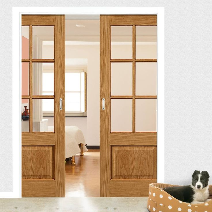 Double Pocket Dove 6 Pane Oak Sliding Door System In Three Size Widths With  Clear Glass