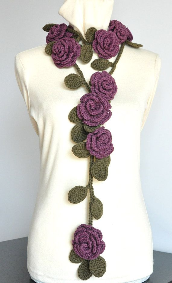 Thanks for looking. This lariat is made with cotton yarn, 9 pcs of 2.5-3 roses, all the flowers and leaves are hand crocheted. It is about 64/162cm