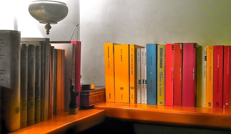 Nella solida libreria di Valentina, tropicana esperta di social network, i libri sono meticolosamente ordinati per editore o per collana, una scelta anche cromatologica!