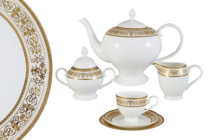 Чайный сервиз из костяного фарфора на 6 персон «Шарлотта»      Бренд: Emerald;   Страна производства: Китай;   Материал: костяной фарфор;   Количество персон: 6;   Количество предметов: 21 шт;   Объем чашки: 200 мл;   Объем чайника: 1,5 л;   Объем молочника: 300 мл;   Объем сахарницы: 350 мл;         Чайный сервиз из костяного фарфора на 6 персон «Шарлотта» состоит из:         6 чашек по 0,2 л;      6 блюдец;      6 десертных тарелок 18 см;      1 заварочный чайник 1,5 л;   …