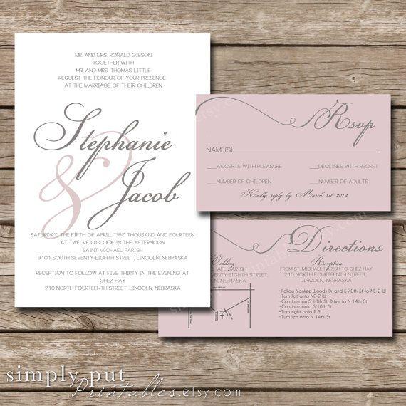 White Blush Pink Gray Wedding Invitation Suite | Modern Script | Handwritten Style Names | Custom Color | Printable Digital File Printable on Etsy, $25.00
