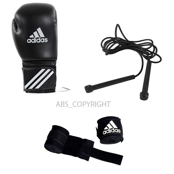 """Full kit: gloves   wraps   skipping rope for boxers' cardio training (boxing, Muay Thai, kickboxing). ADIDAS GLOVES, ROPE & WRAP BOXING KIT. The size of gloves is given in oz (which is the abbreviation of """"ounce"""", a British unit of measurement used worldwide for boxing gloves). 