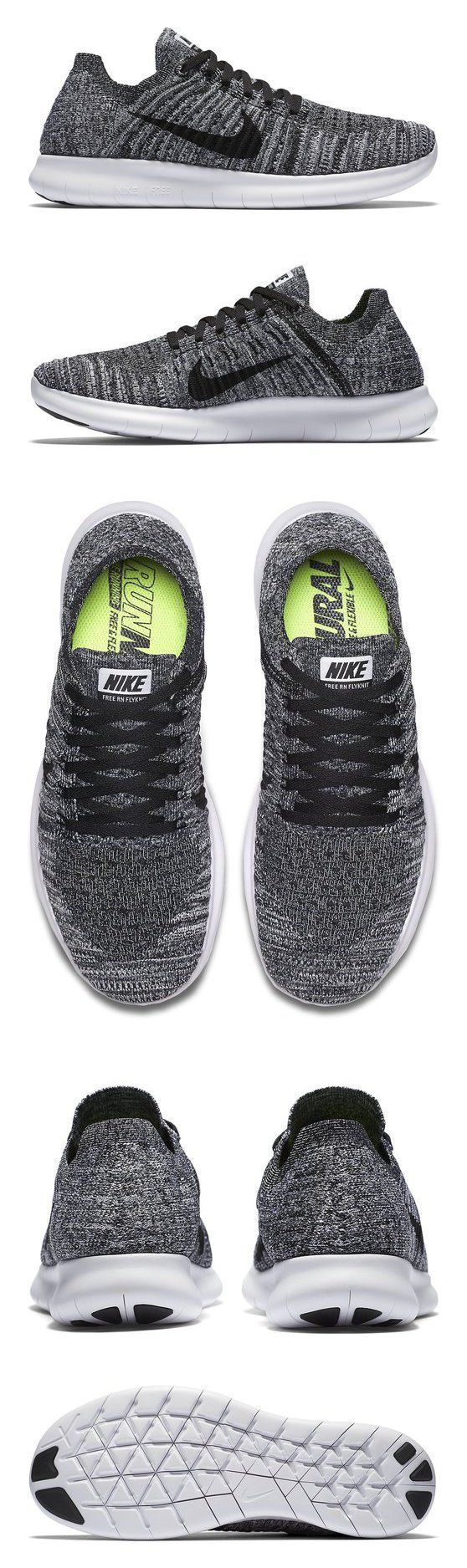 $130 - Nike Women\u0027s Free Rn Flyknit Running Shoe White/Black 9 B(M