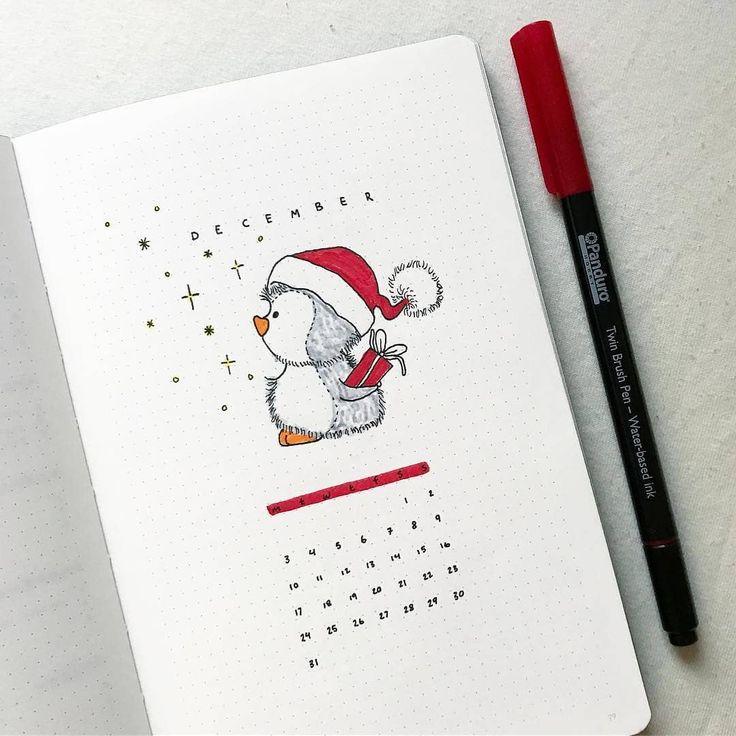 Hallo Dezember December Ich wünsche dir einen fantastischen Sonntag drawing Die Zeichnung wurde von einem Foto inspiriert, das ich auf Pinterest gefunden habe✨ Von @buujooo ☀️Verwende #bujocollect …