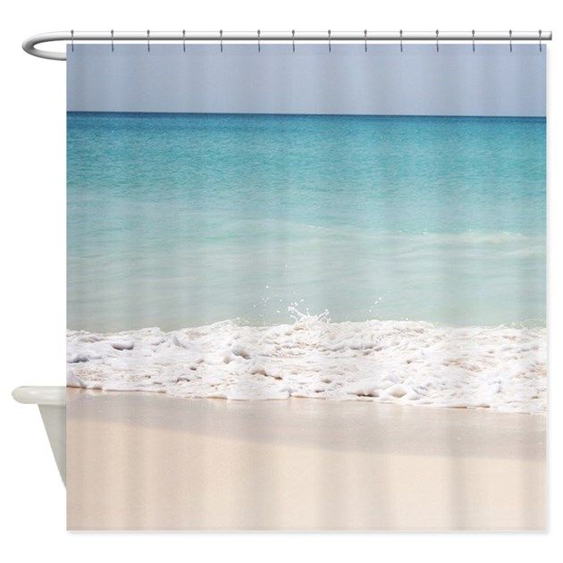 White sand, waves, blue water, beach - shower curtain
