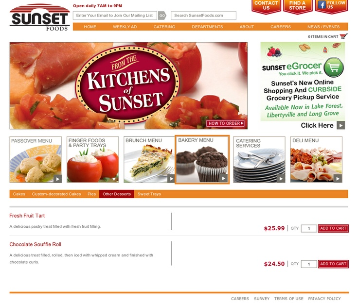 Sunset Foods Deli Menu
