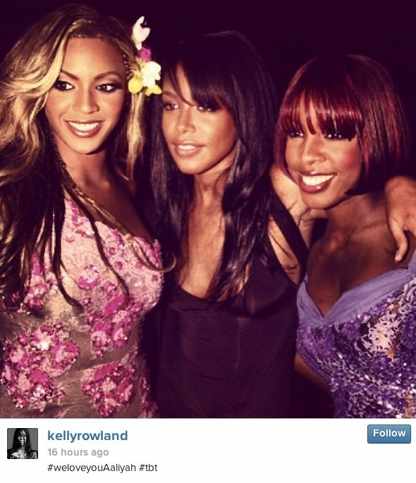 Yesterday Kelly Rowland posted a photo of herself, Beyoncé, and Aaliyah for #TBT. | Beyonce Accused Of Stealing Kelly Rowland's #TBT Photo (And Then Cropping Her Out)