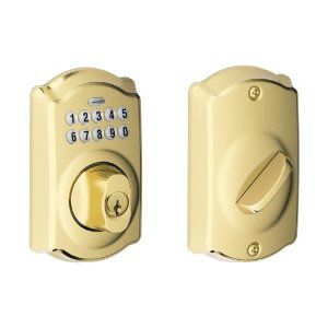Schlage BE365 CAM 505 Camelot Keypad Deadbolt, Bright Brass by Schlage. $106.05. Amazon.com                   Experience the Freedom of Keyless Convenience  No more hiding keys under the doormat. No more losing, forgetting, or making extra keys time and time again. Step up to a more secure and flexible solution with a Schlage Residential Keypad Deadbolt. Install a new keypad deadbolt yourself--with nothing more than a screwdriver. You're free to add, change, or delete use...