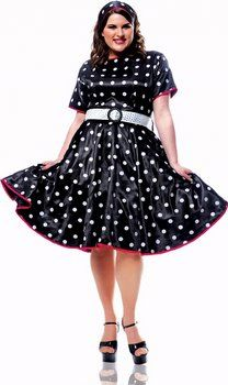 Plus Size Hot 50's Black/White Polka Dot Dress - 50's Sock Hop Costumes - Candy Apple Costumes