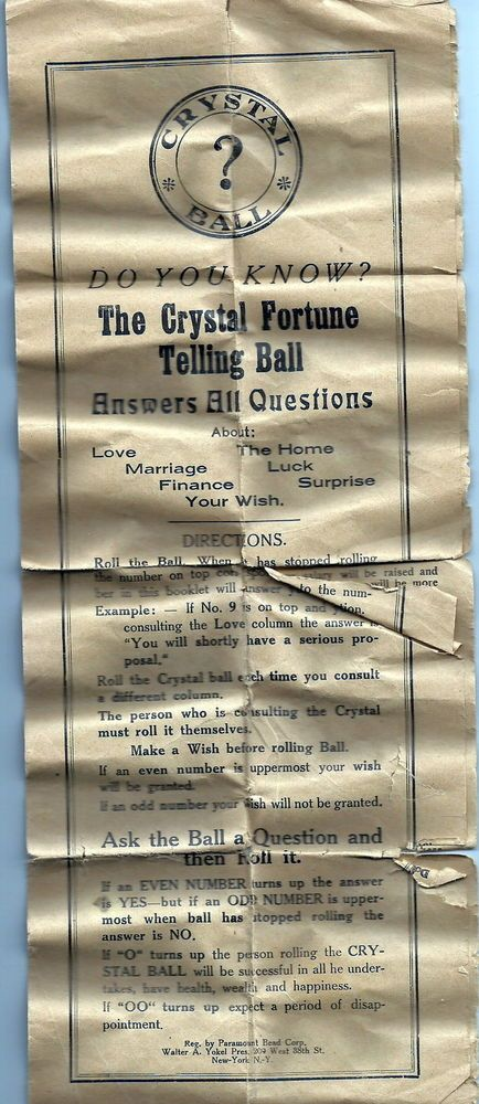 Antique 1920s Crystal Ball Fortune Telling Game