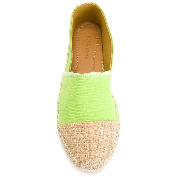 Heidi Klein contrasted toe cap espadrilles ($72) ❤ liked on Polyvore featuring shoes, sandals, green leather shoes, leather sandals, leather espadrille sandals, lime green shoes and lime shoes