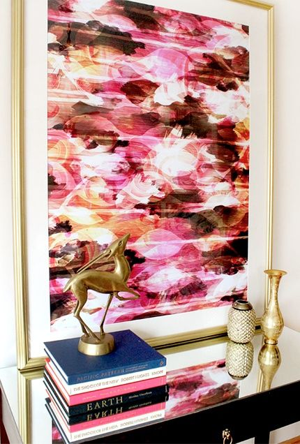 Beautiful bright pink artwork with gold home accents