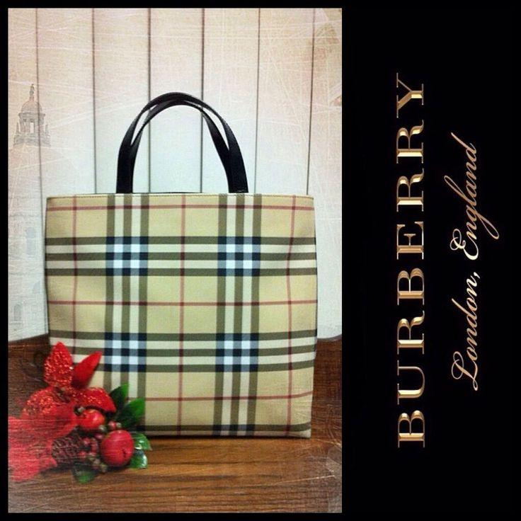 Vintage Burberry Nova Check Coated Canvas Medium Tote Bag Handbag Purse #Burberry #Tote