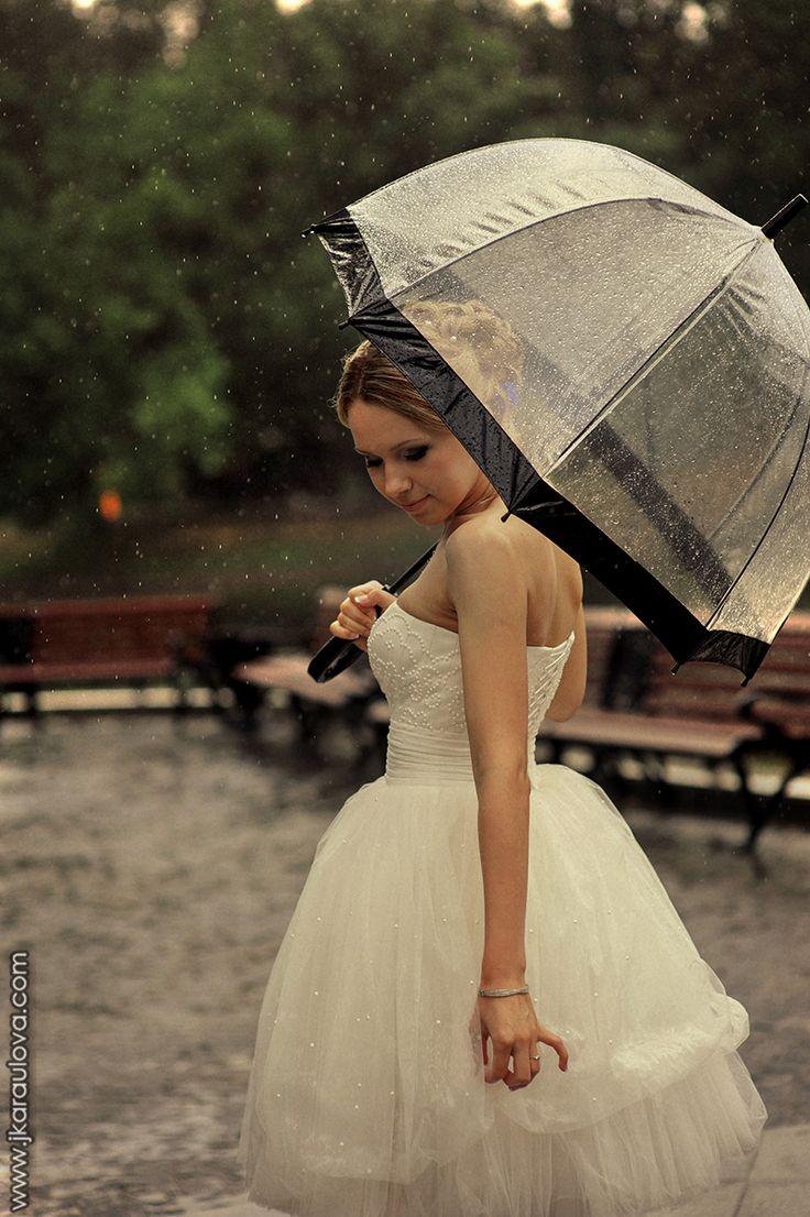 beautiful bride with umbrella