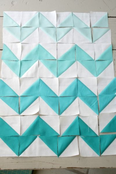chevron quilting. Just triangles - love the ombre!