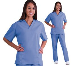 Natural UniformsSolid Top And Pant Scrub Set