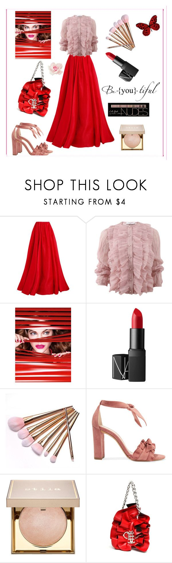 """""""Ruffles Red"""" by boutiquebrowser ❤ liked on Polyvore featuring Reem Acra, Givenchy, L'Oréal Paris, NARS Cosmetics, Alexandre Birman, Stila, Emilio Pucci and Charlotte Russe"""