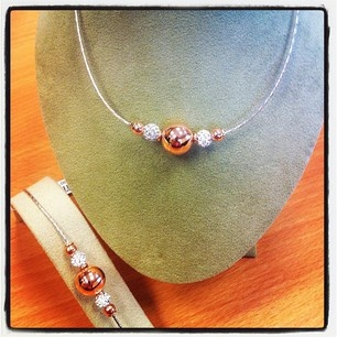 Rose gold is so in this season and so is this fab necklace and bracelet set from Fields