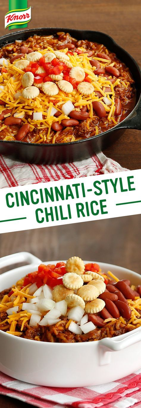 Less than half an hour from prep to plate? Knorr's spin on Cincinnati-Style Chili Rice is a flavorful, time saving take on the Queen City classic. Follow these easy steps for a family friendly meal: 1. Cook ground beef & onion. Add garlic, chili powder, cocoa powder, & cinnamon 2. Stir in tomato sauce & water 3. Combine w/ Knorr® Rice Sides™ - Beef flavor 4.  Serve w/ kidney beans, cheddar cheese, chopped onion, oyster crackers, & red pepper. Enjoy!