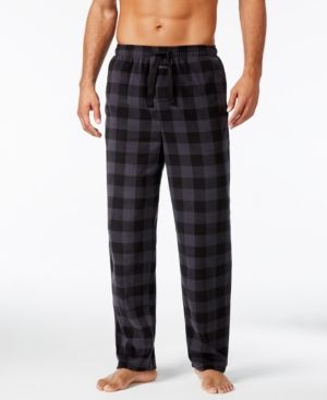 Perry Ellis Men's Buffalo Plaid Fleece Pajama Pants - Black M