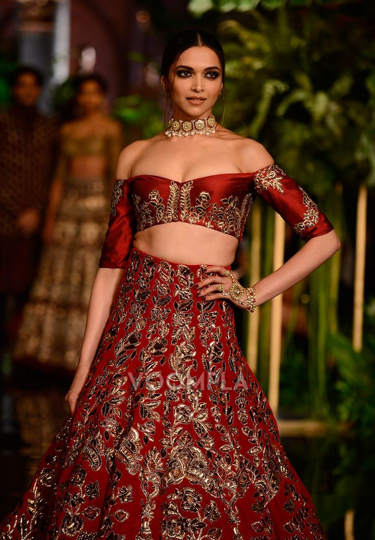 The most gorgeous traditional look of Deepika Padukone in lehenga and cleavage baring choli designed by Manish Malhotra. via Voompla.com