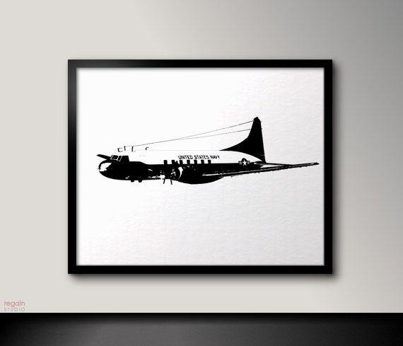 US Navy Aircraft Convair C-131 Black and white par RegainStudio