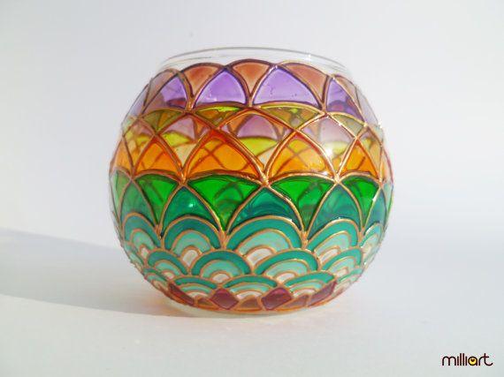 Hand Painted Glass Candle holder Boho Waves Boho by MilliartGlass, $45.00