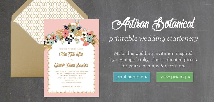 Artisan Botanical Printable Wedding Stationery Collection
