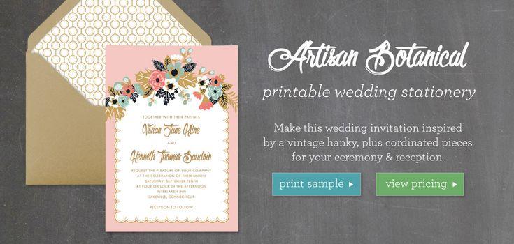 Artisan Botanical Printable Wedding Stationery Collection