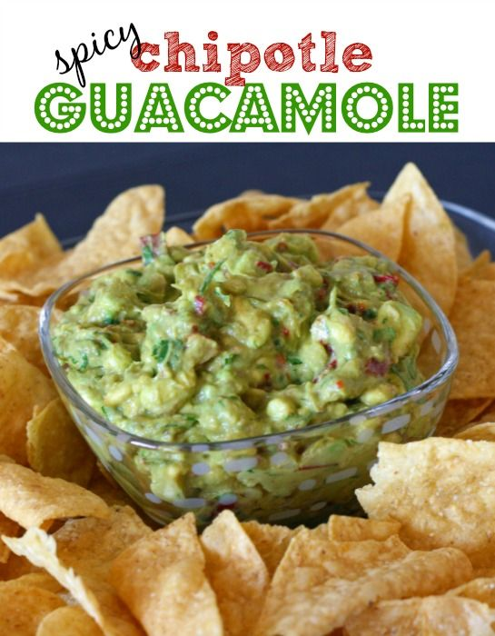 This is the BEST recipe ever for guacamole!  I love how it's got a smokey, spicy taste from the chipotle peppers.  This is definitely a must for the Super Bowl!